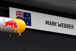 Sign for Mark Webber, Red Bull Racing.