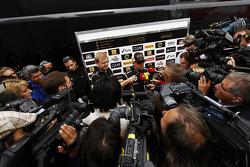 Kimi Raikkonen, Lotus F1 Team with the media.