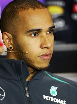 Lewis Hamilton, Mercedes AMG F1 in the FIA Press Conference.