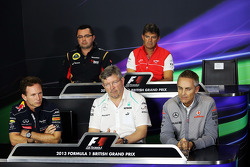 The FIA Press Conference, Lotus F1 Team Principal; Graeme Lowdon, Marussia F1 Team Chief Executive Officer; Paul Hembery, Pirelli Motorsport Director - absent; Christian Horner, Red Bull Racing Team Principal; Ross Brawn, Mercedes AMG F1 Team Principal; M