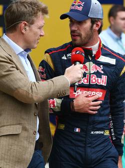 Jean-Eric Vergne, Scuderia Toro Rosso with Simon Lazenby, Sky Sports F1 TV Presenter