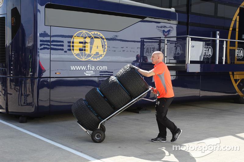 Used Pirelli tyres returned by McLaren