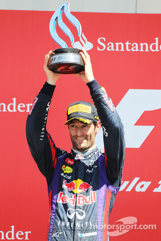 Mark Webber Red Bull Racing celebrates his second position on the podium