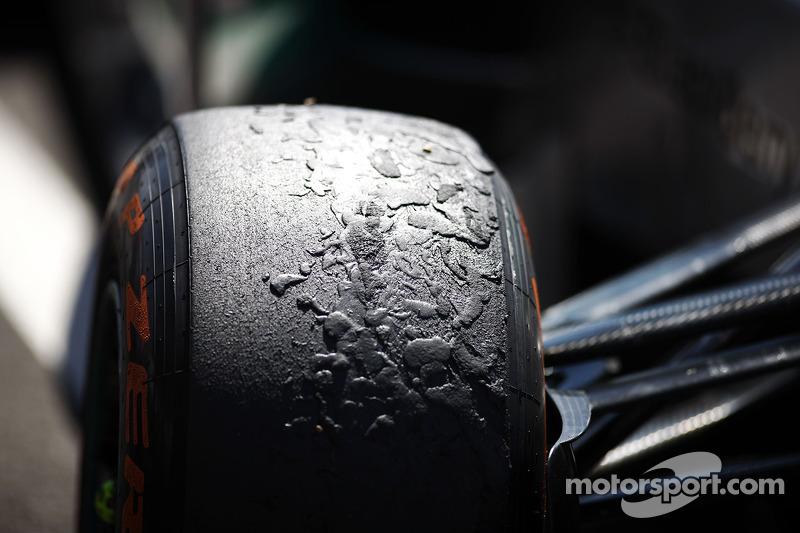 Worn Pirelli tyres in parc ferme