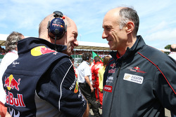 Adrian Newey Red Bull Racing Chief Technical Officer with Franz Tost Scuderia Toro Rosso Team Principal on the grid