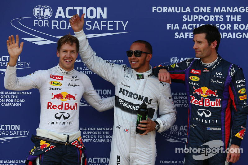 Pole for Lewis Hamilton, Mercedes AMG F1, 2nd for Sebastian Vettel, Red Bull Racing and 3rd for Mark