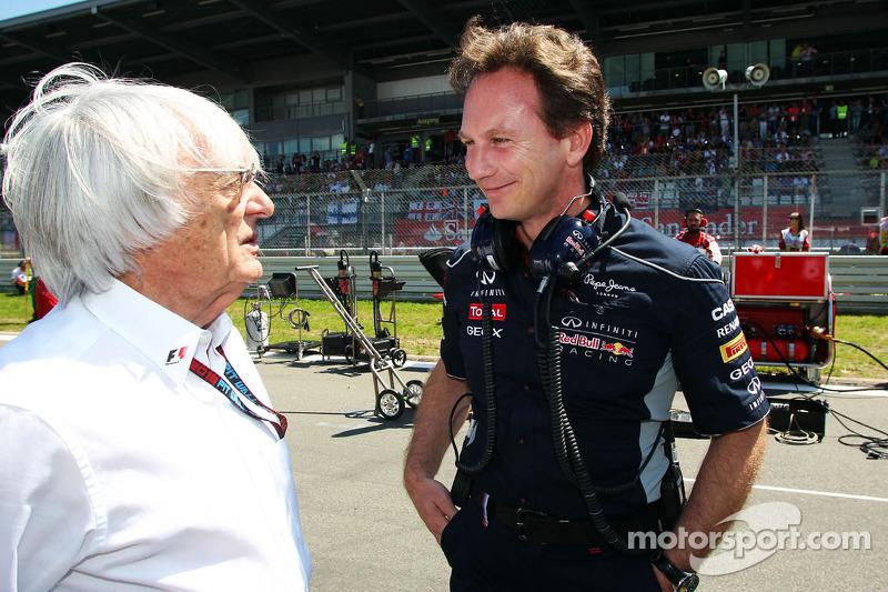 (L naar R): Bernie Ecclestone, CEO Formula One Group, met Christian Horner, Teambaas Red Bull Racing