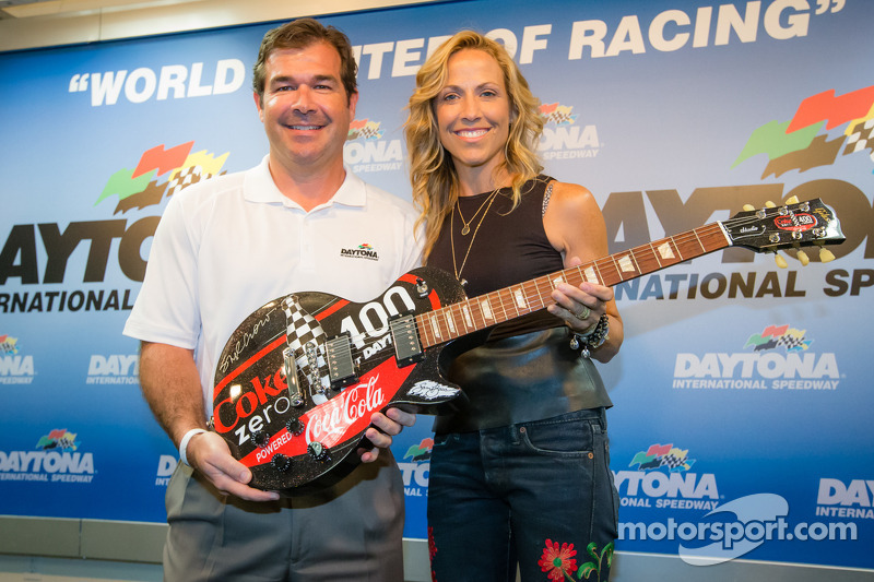 Daytona International Speedway President Joir Chitwood and pre-race concert performing artist Sheryl Crow