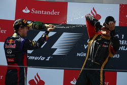 1st place Sebastian Vettel, Red Bull Racing and 2nd place Kimi Raikkonen, Lotus F1 E21