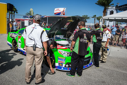 Car of Danica Patrick, Stewart-Haas Racing Chevrolet at qualifying technical inspection
