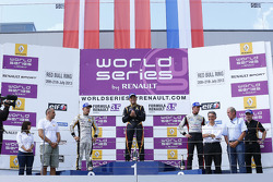 Podium: winner Marco Sorensen, second place Kevin Magnussen, third place Nigel Melker
