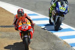 Marc Marquez, Repsol Honda Team passes Valentino Rossi, Yamaha Factory Racing
