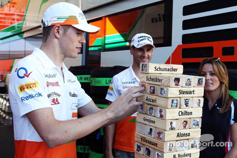 (L to R): Paul di Resta, Sahara Force India F1 and team mate Adrian Sutil, Sahara Force India F1 pla