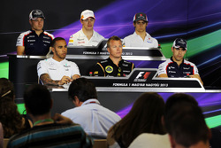 Coletiva da FIA: Valtteri Bottas, Williams; Paul di Resta, Sahara Force India F1; Esteban Gutierrez,