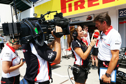 Natalie Pinkham, Sky Sports Presenter with Graeme Lowdon, Marussia F1 Team Chief Executive Officer