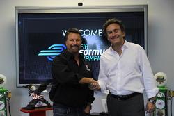 Alejandro Agag, CEO of Formula E Holdings with Michael Andretti, Formula E Andretti Autosport presentation