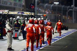 Ferrari pit crew rush to the aid of Felipe Massa, Ferrari F2008
