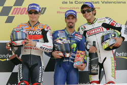 Podium: race winner Marco Melandri, il secondo classificato Nicky Hayden, il terzo classificato Valentino Rossi