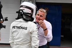 Johnny Herbert, Sky TV with pole sitter Valtteri Bottas, Mercedes AMG F1 in parc ferme