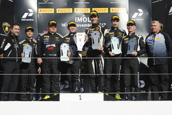 Podium Asia Pro-AM: first place Milos Pavlovic, Andrew Haryanto, X-One Racing Team, second place Mikko Eskelinen, Maxx Ebenal, Leipart Motorsport, third place Nigel Farmer, Andrea Josephsohn, GDL Racing
