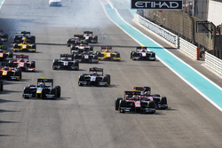 Alexander Albon, ART Grand Prix, leads Nobuharu Matsushita, ART Grand Prix & Nicholas Latifi, DAMS. at the start