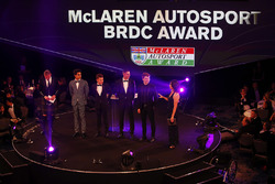 The Young Driver nominees on stage: Enaam Ahmed, Max Fewtrell, Harrison Scott, Daniel Ticktum