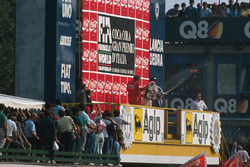 Podium: race winner Alain Prost, second place Gerhard Berger, third place Thierry Boutsen