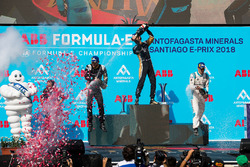 Jean-Eric Vergne, Techeetah, Andre Lotterer, Techeetah enjoy their Mumm Champagne on the podium with Sébastien Buemi, Renault e.Dams