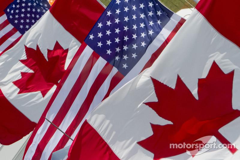 Amerikaanse en Canadese vlaggen