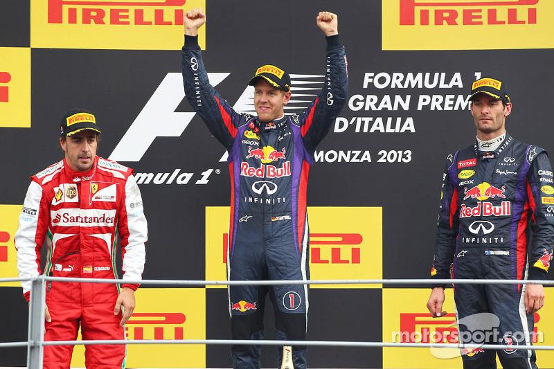 Podium: second place Fernando Alonso, Scuderia Ferrari, race winner Sebastian Vettel, Red Bull Racin