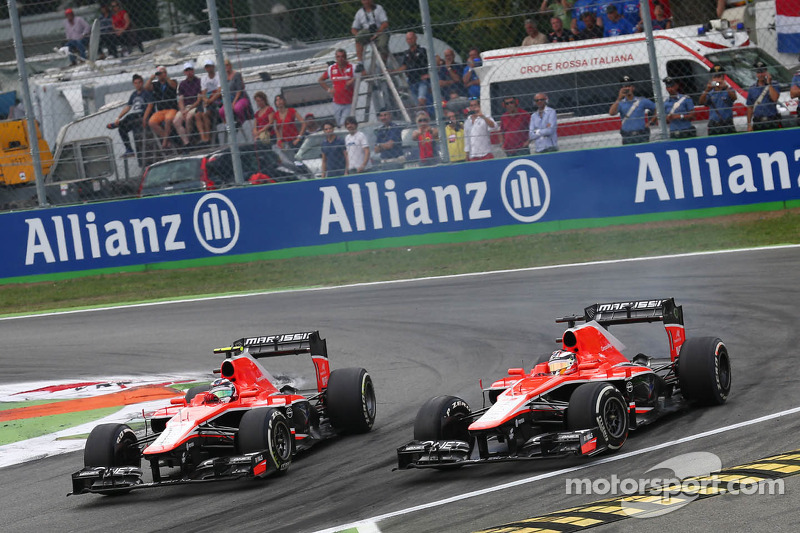Jules Bianchi, Marussia F1 Team MR02 and team mate Max Chilton, Marussia F1 Team MR02 battle for pos