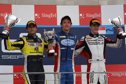 Race winner Jolyon Palmer, second place Felipe Nasr, third place James Calado