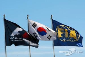 F1, FIA and Korea flags