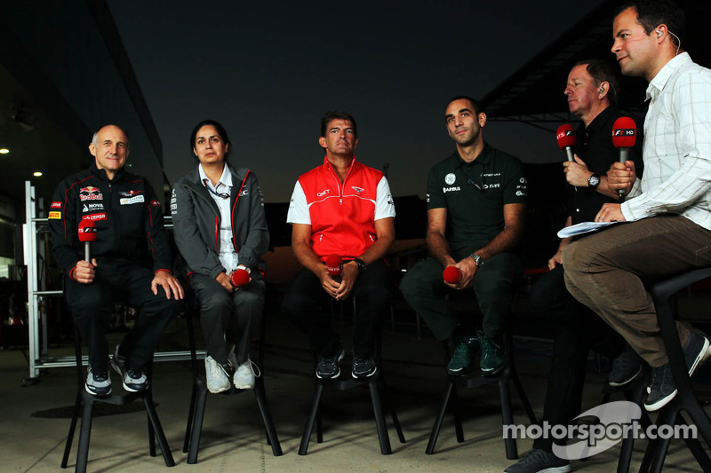 (L naar R): Franz Tost, Teambaas Scuderia Toro Rosso met Monisha Kaltenborn, Teambaas Sauber, Graeme Lowdon, Marussia F1 Team Chief Executive Officer, Cyril Abiteboul, Teambaas Caterham F1, Martin Brundle, Sky Sports Commentator en Ted K
