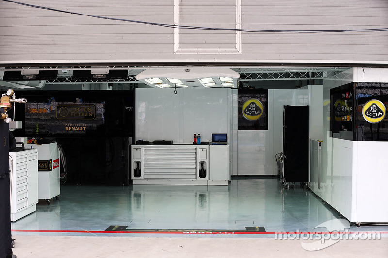 Lotus F1 Team Pit Garage At Korean Gp