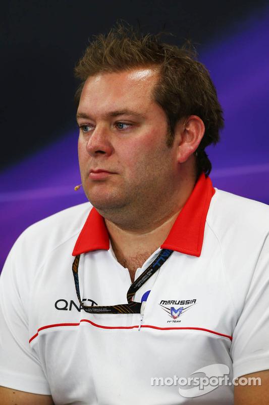 Dave Greenwood, engenheiro da Marussia F1 Team Racing na Conferência de Imprensa FIA