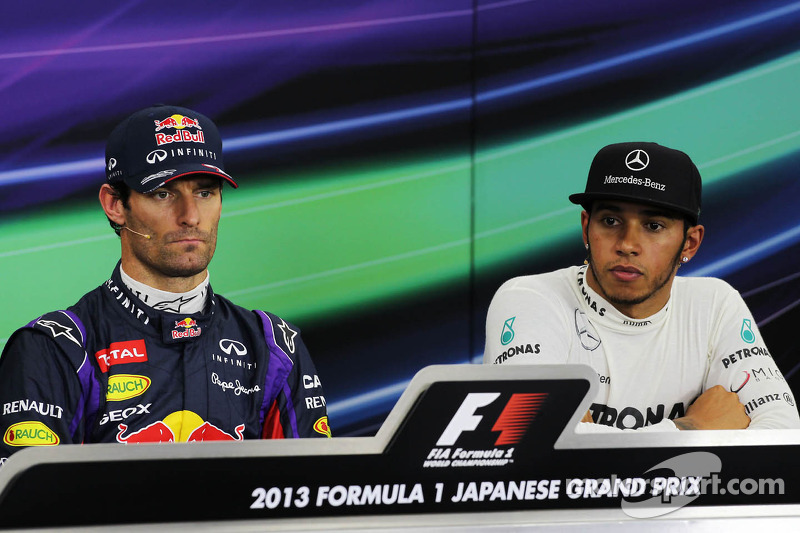 (L to R): pole sitter Mark Webber, Red Bull Racing with Lewis Hamilton, Mercedes AMG F1 in the FIA P