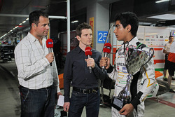 (L to R): Ted Kravitz, Sky Sports Pitlane Reporter with Anthony Davidson, Sky Sports F1 Commentator and Jehan Daruvala, Sahara Force India Academy Driver, winner of the British KF3 Karting Championship