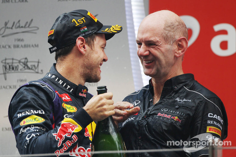 Race winner and World Champion Sebastian Vettel, Red Bull Racing celebrates on the podium with Adria