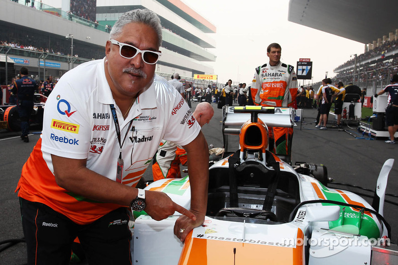 Dr. Vijay Mallya, Sahara Force India F1 Team Owner on the grid with the Sahara Force India VJM06 carrying the hashtag # masterblaster as a tribute to the legendary crickerter Sachin Tendulkar, who has recently announced his retirement from all forms of cr