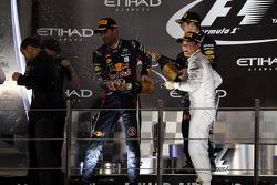 1. Sebastian Vettel, Red Bull Racing, 2. Mark Webber, Red Bull Racing, 3. Nico Rosberg, Mercedes AMG F1