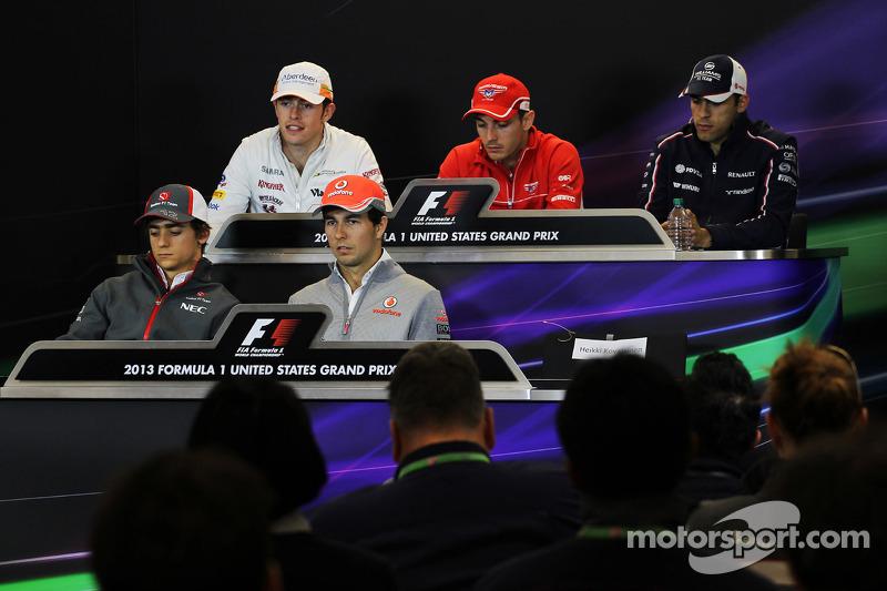 The FIA Press Conference: Paul di Resta, Sahara Force India F1; Jules Bianchi, Marussia F1 Team; Pastor Maldonado, Williams; Esteban Gutierrez, Sauber; Sergio Perez, McLaren
