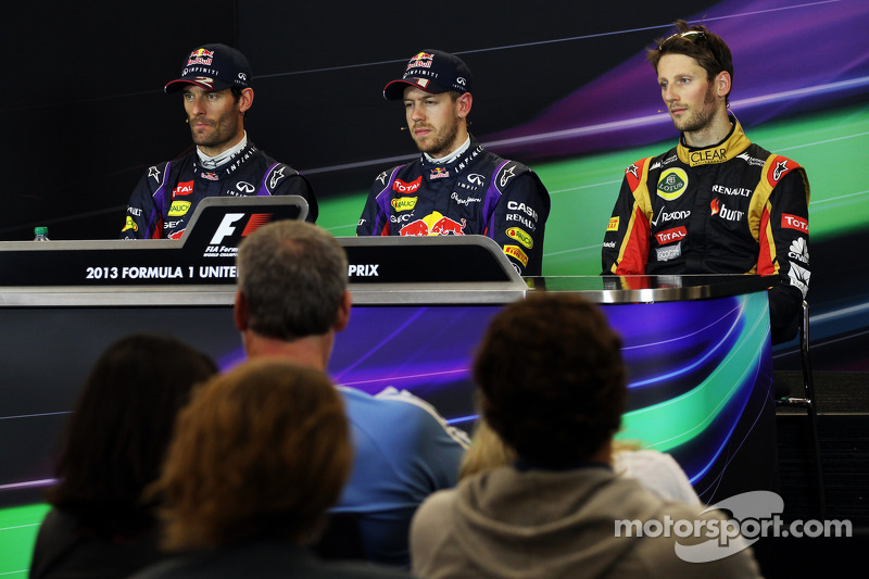 Qualifying top three in the FIA Press Conference: Mark Webber, Red Bull Racing, second; Sebastian Ve