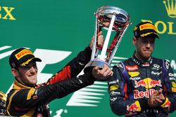 Second place Romain Grosjean, Lotus F1 Team, third place Mark Webber, Red Bull Racing