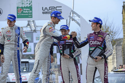 Winners Sébastien Ogier and Julien Ingrassia, third place Thierry Neuville and Nicolas Gilsoul