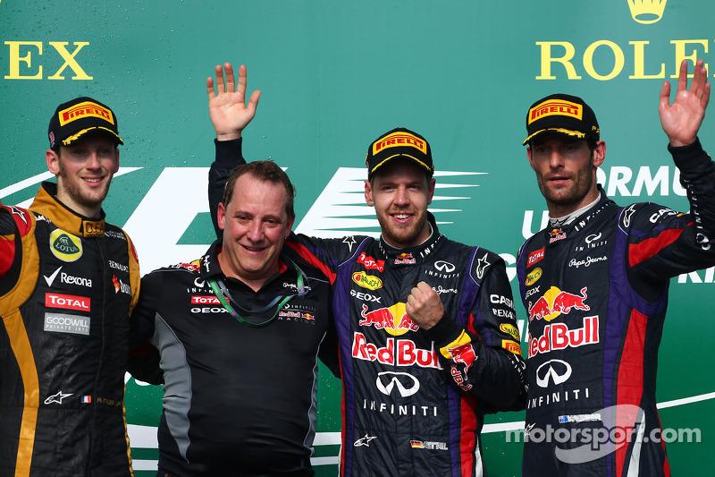 1e plaats Sebastian Vettel, Red Bull Racing, 2e plaats voor Romain Grosjean, Lotus F1 Team en 3e plaats voor Mark Webber, Red Bull Racing