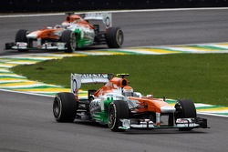 Adrian Sutil, Sahara Force India VJM06 leads team mate Paul di Resta, Sahara Force India VJM06
