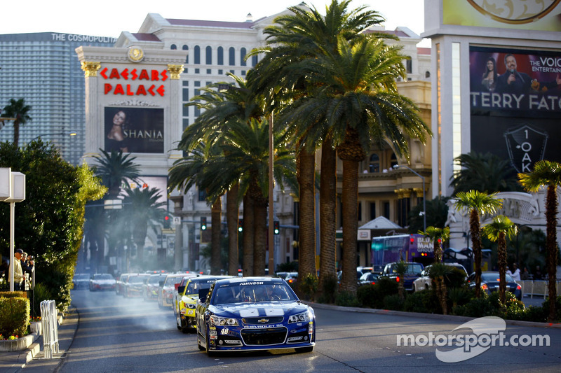 Jimmie Johnson leads the NASCAR Victory Lap