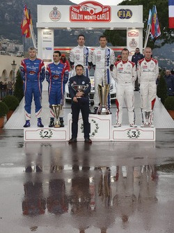 Winners Sébastien Ogier and Julien Ingrassia, second place Bryan Bouffier and Xavier Panseri, third place Kris Meeke and Paul Nagle