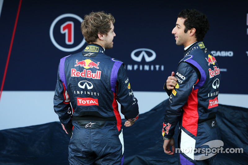 (L to R): Sebastian Vettel, Red Bull Racing with team mate Daniel Ricciardo, Red Bull Racing at the